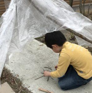 子どもが作ったテント